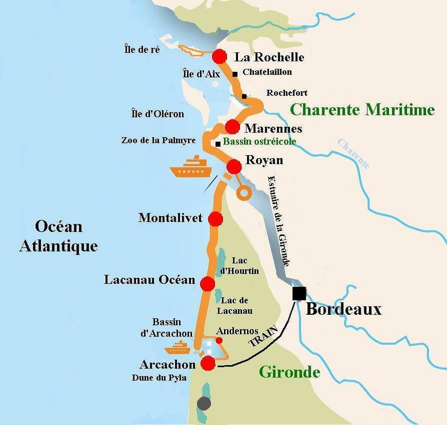 Map Of France La Rochelle.France Aquitaine The Velodyssey From La Rochelle To Arcachon