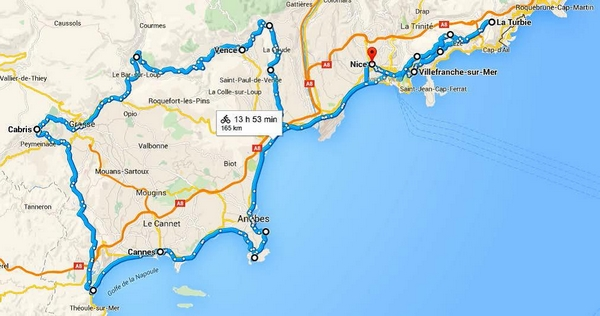 Map Of France French Riviera.France Self Guided Bike Tour On The French Riviera
