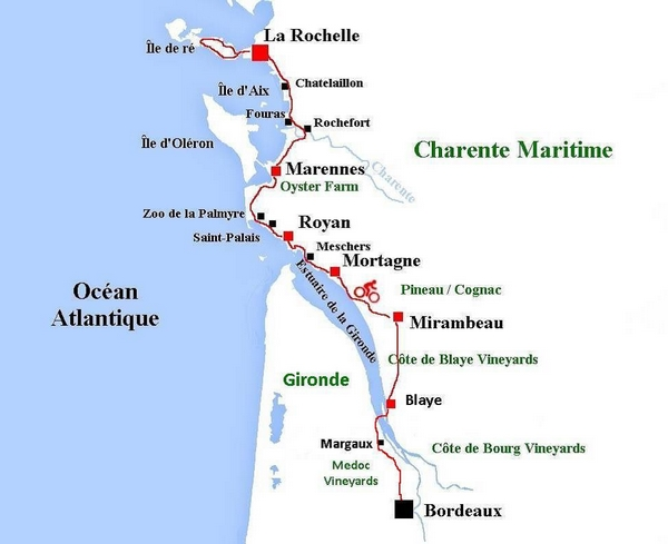 Carte Bordeaux Royan.France Velodyssey Cycling From La Rochelle To Royan And