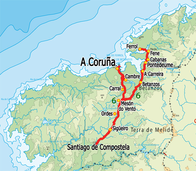 Camino Walk Spain Map.Spain Camino Ingles From Ferrol To Santiago De Compostela Self